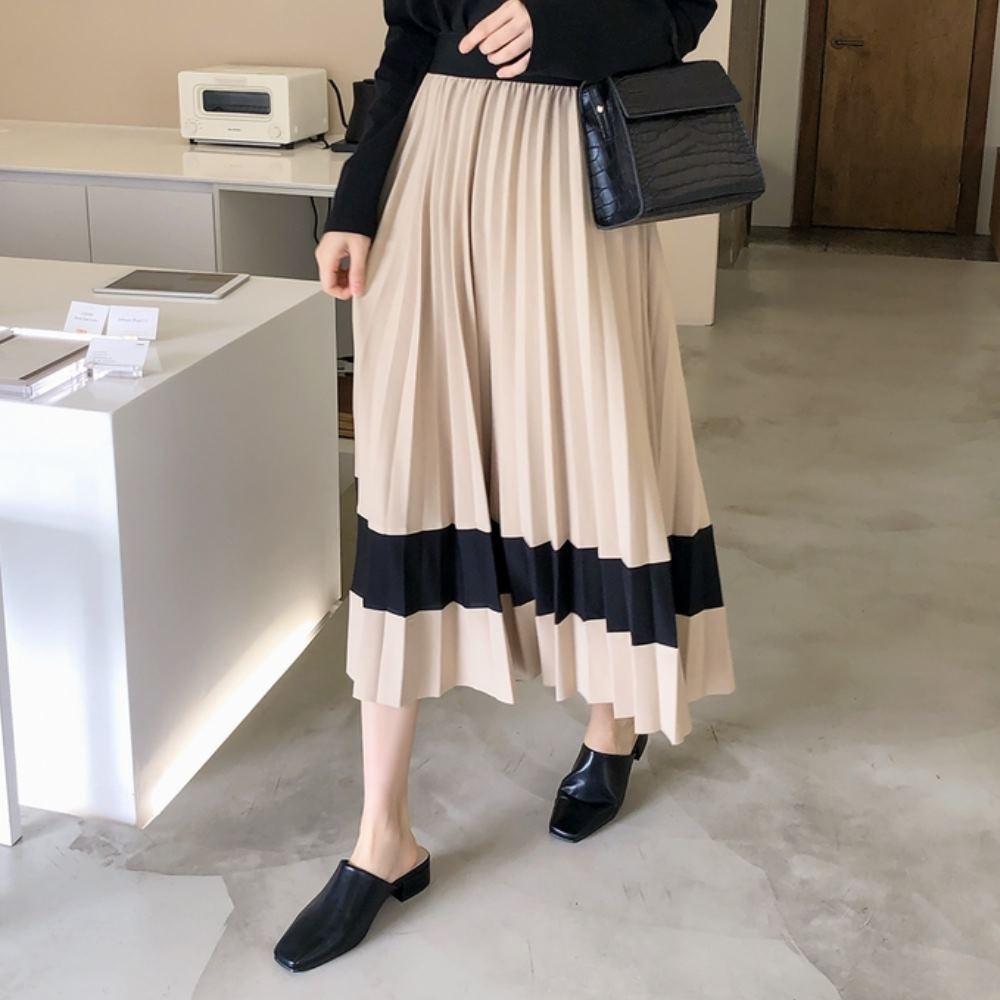 La Belleza黑色鬆緊腰撞色配色百摺裙大擺裙