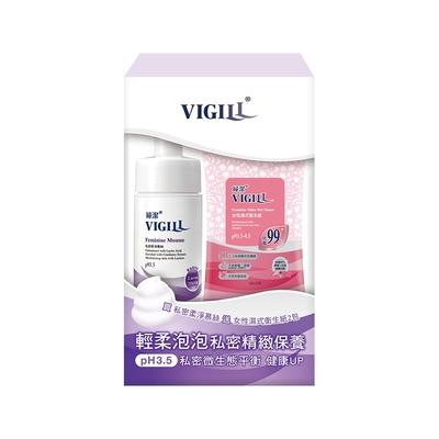 [時時樂限定 65折] 買2贈4  VIGILL婦潔 私密精緻保養組 (加強乳酸慕絲120ml+女性濕式衛生紙 2包) 特惠組x2