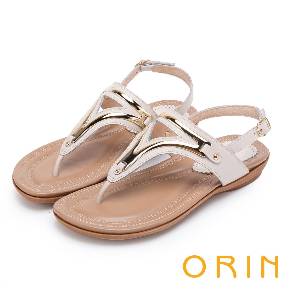 ORIN 夏日時尚風 金屬飾條牛皮夾腳涼鞋-米色