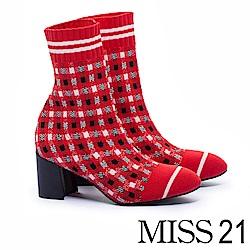 短靴 MISS 21 時髦冬季飛織設計粗跟襪靴-紅