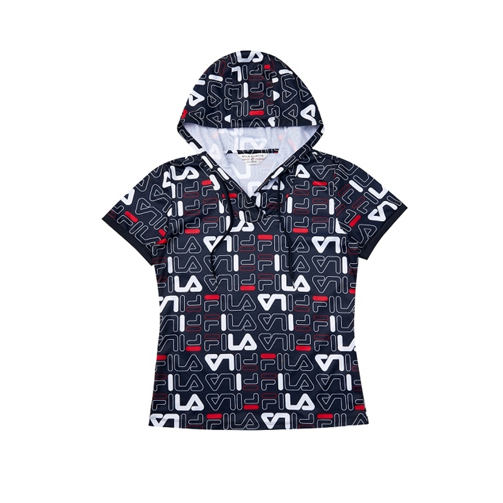 FILA 女吸濕排汗短袖連帽T恤-丈青 5TEV-1486-NV