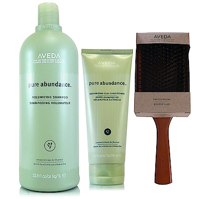 AVEDA 純豐洗髮精1000ml(附專用壓頭)+純豐潤髮乳200ml+木質髮梳*1把(正統公司貨)