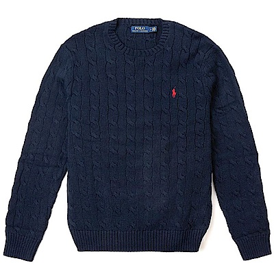 Polo Rlaph Lauren 經典刺繡小馬圓領麻花針織毛衣-深藍色