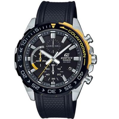 EDIFICE 賽車風格設計運動休閒腕錶-黃(EFR-566PB-1A)/49.3mm