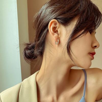 梨花HaNA  韓國925銀愛的迫降尹世理銀鑽圈簡潔耳環