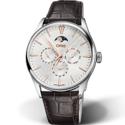 ORIS 豪利時 Artelier系列月相盈虧機械錶-咖啡皮/40mm