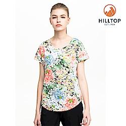 【hilltop山頂鳥】女款吸濕快乾抗UV印花T恤S04FH6粉橘