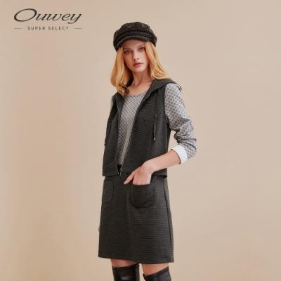 OUWEY歐薇 波點緹花假兩件針織布洋裝(灰)