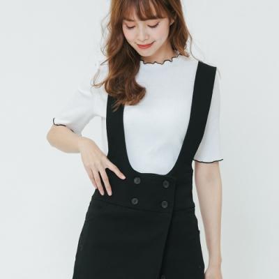 H:CONNECT 韓國品牌 女裝-排釦設計吊帶洋裝-黑