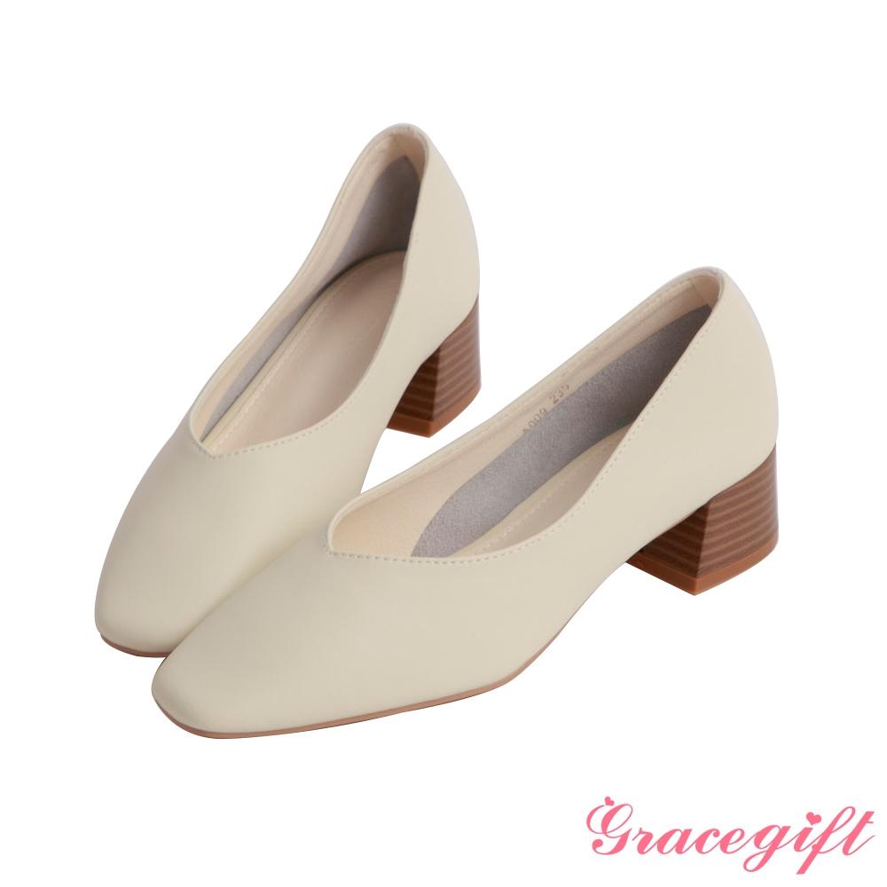 Grace gift-真皮素面方頭中跟鞋 白