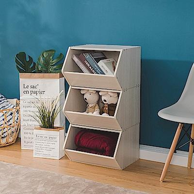 樂嫚妮 DIY 日式 收納櫃/置物櫃/玩具櫃-木紋白色3入組-42X28.2X27.6cm