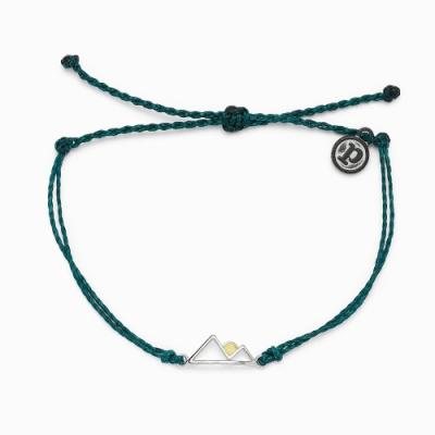 Pura Vida 美國手工 SUNRISE 銀色日出 暗綠色蠟線衝浪手鍊手環