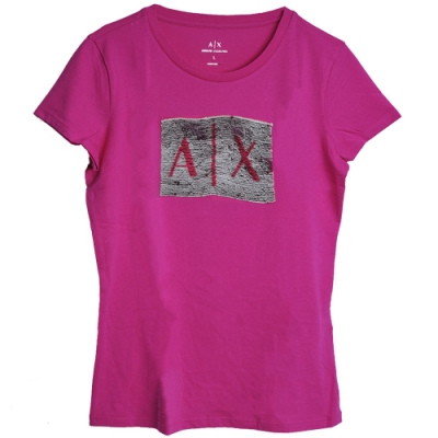 ARMANI EXCHANGE 品牌A/X字母LOGO亮片造型圓領T恤(紫)