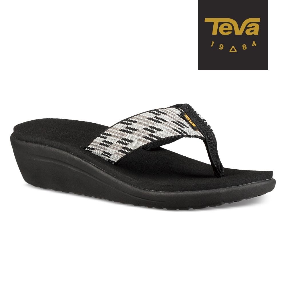 TEVA 女 Voya Wedge 寬版織帶 高跟夾腳拖鞋-黑白