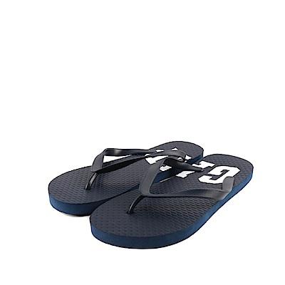 GAP 夏日必備經典LOGO印刷人字拖鞋(男)-深藍