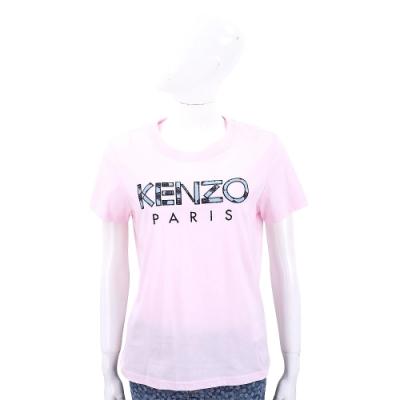 KENZO 玫瑰字母設計粉色棉質短袖T恤