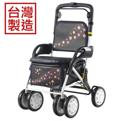 MIT台灣製造 有扶手收合式健行車-櫻花飛舞
