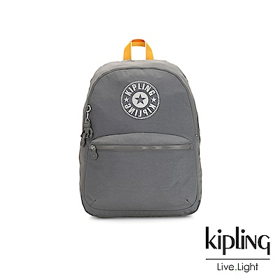 Kipling 質地灰品牌經典圓標休閒雙肩後背包-KIRYAS