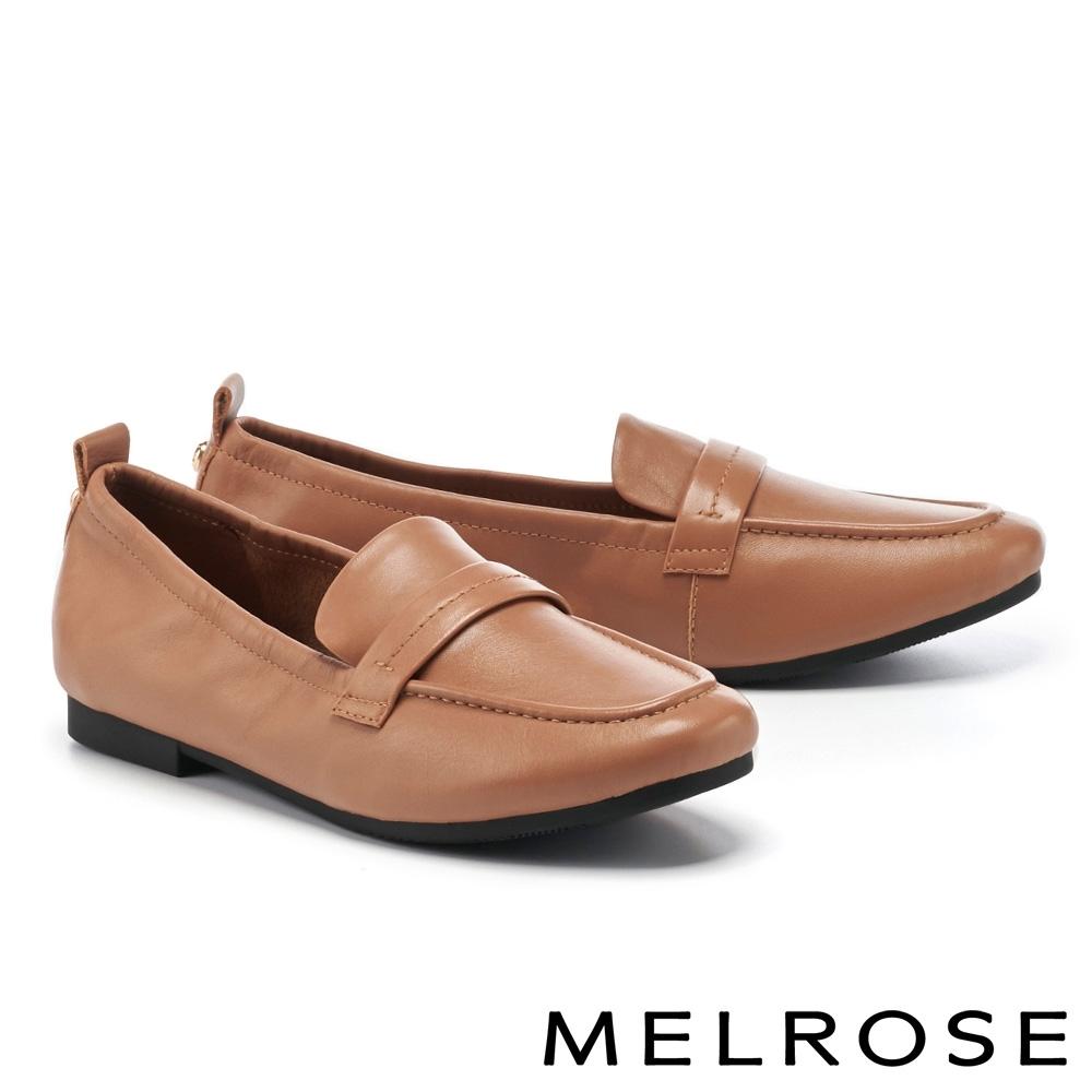 低跟鞋 MELROSE 經典復刻純色全真皮樂福低跟鞋-咖