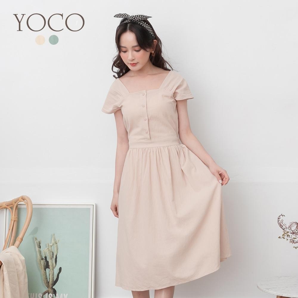 東京著衣-YOCO 古典氣質高含棉方領排釦傘擺洋裝-S.M.L(共二色)