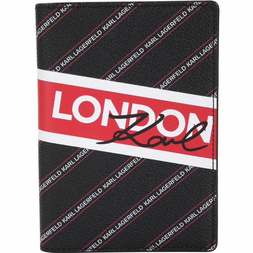 KARL LAGERFELD K/CITY 字母條紋塗層材質護照夾(黑色)