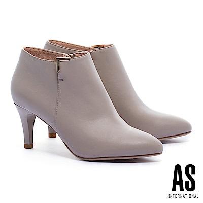 踝靴 AS 簡約質感純色全真皮高跟尖頭踝靴-米