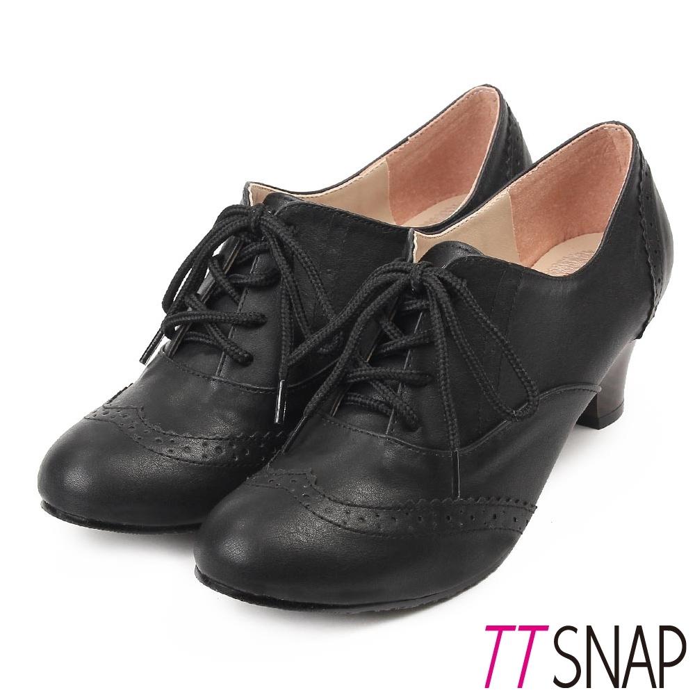 TTSNAP牛津鞋-MIT英倫雕花靜音牛津中跟鞋 黑
