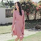 交疊V領不對稱魚尾裙襬長袖洋裝-OB大尺碼