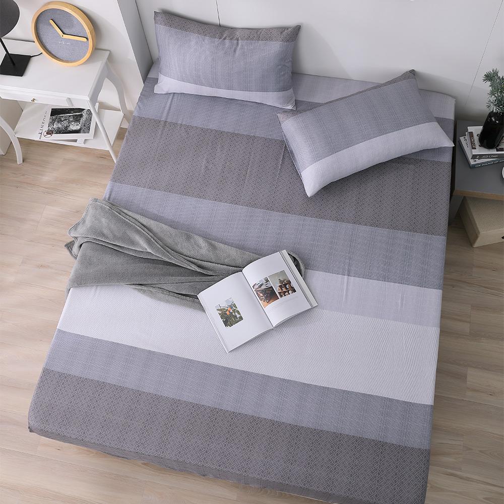 岱思夢 加大100%天絲床包枕套三件組 麻趣布洛-灰