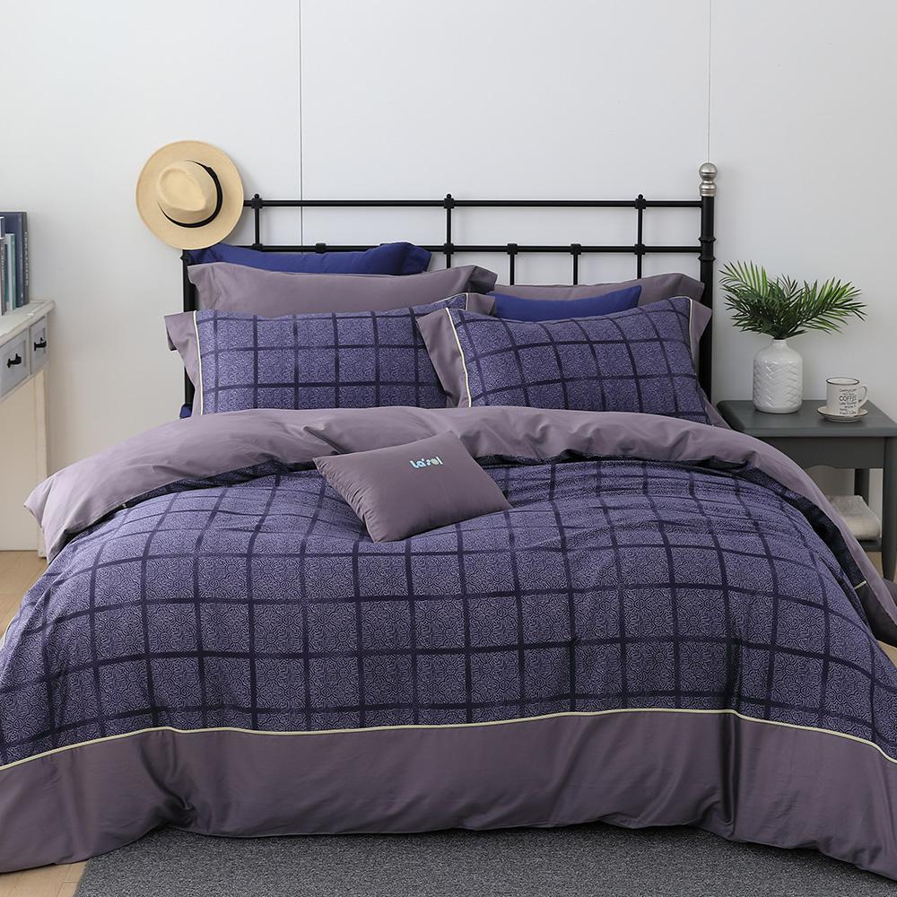 LASOL睡眠屋-300織設計款精梳棉 特大兩用被床包四件組 紫色情挑
