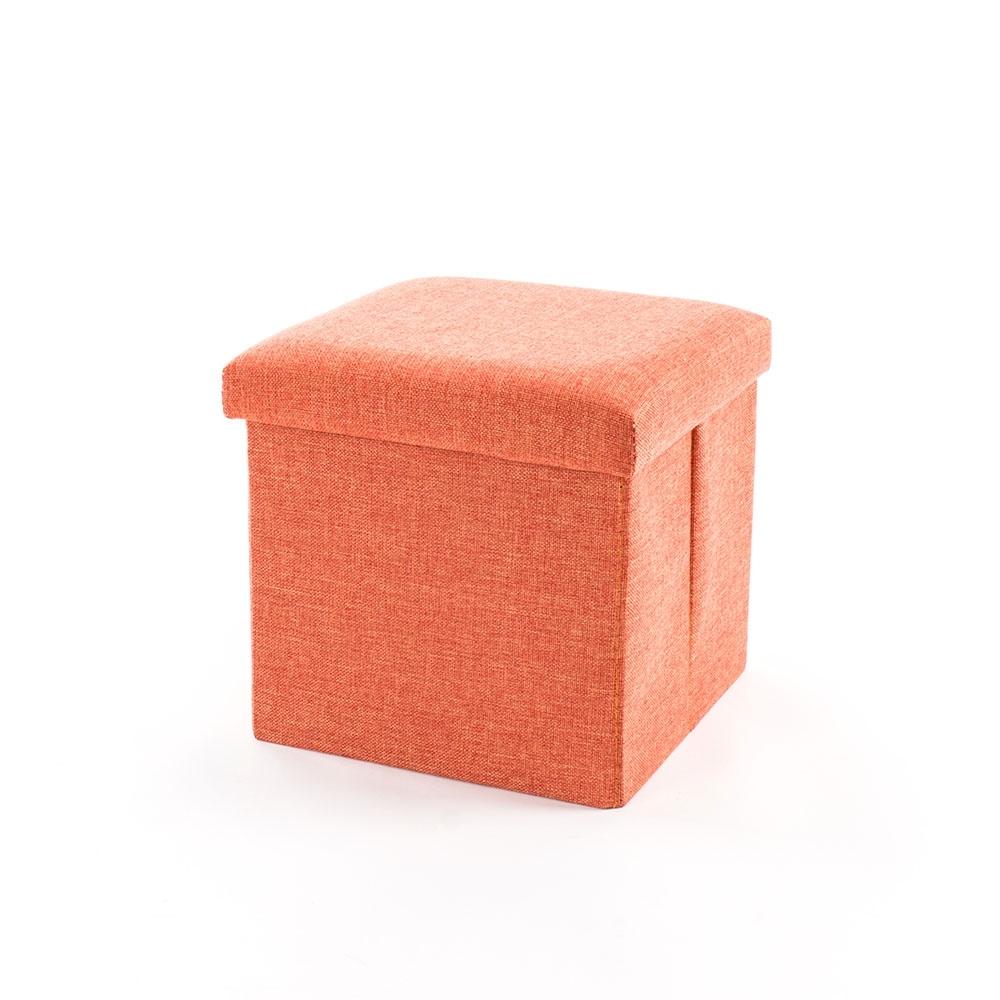 樂嫚妮 棉麻折疊收納椅凳/穿鞋凳/收納箱-27L-橘