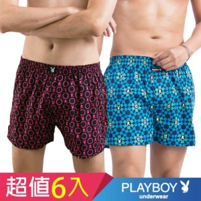 [時時樂限定]PLAYBOY內褲 LOGO兔頭印花平織四角褲(6件組)