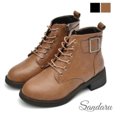 山打努SANDARU-短靴 率性方釦皮革粗跟靴-卡其