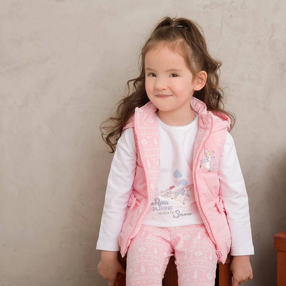 奇哥 比得兔粉紅聖誕雙面舖棉背心外套(6-8歲)