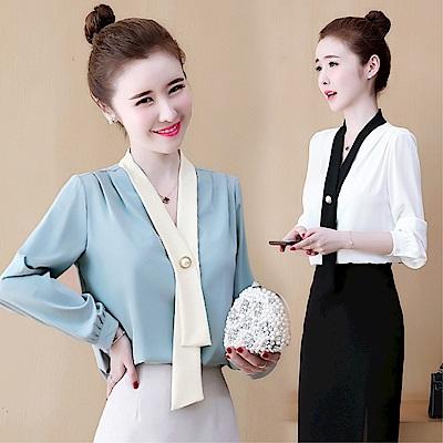 DABI 韓系拼色紐扣雪紡襯衫小衫時尚氣質長袖上衣
