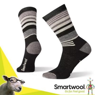 美國 SmartWool 美國製造 美麗諾羊毛 中級減震型徒步條紋中長襪(2入)_黑