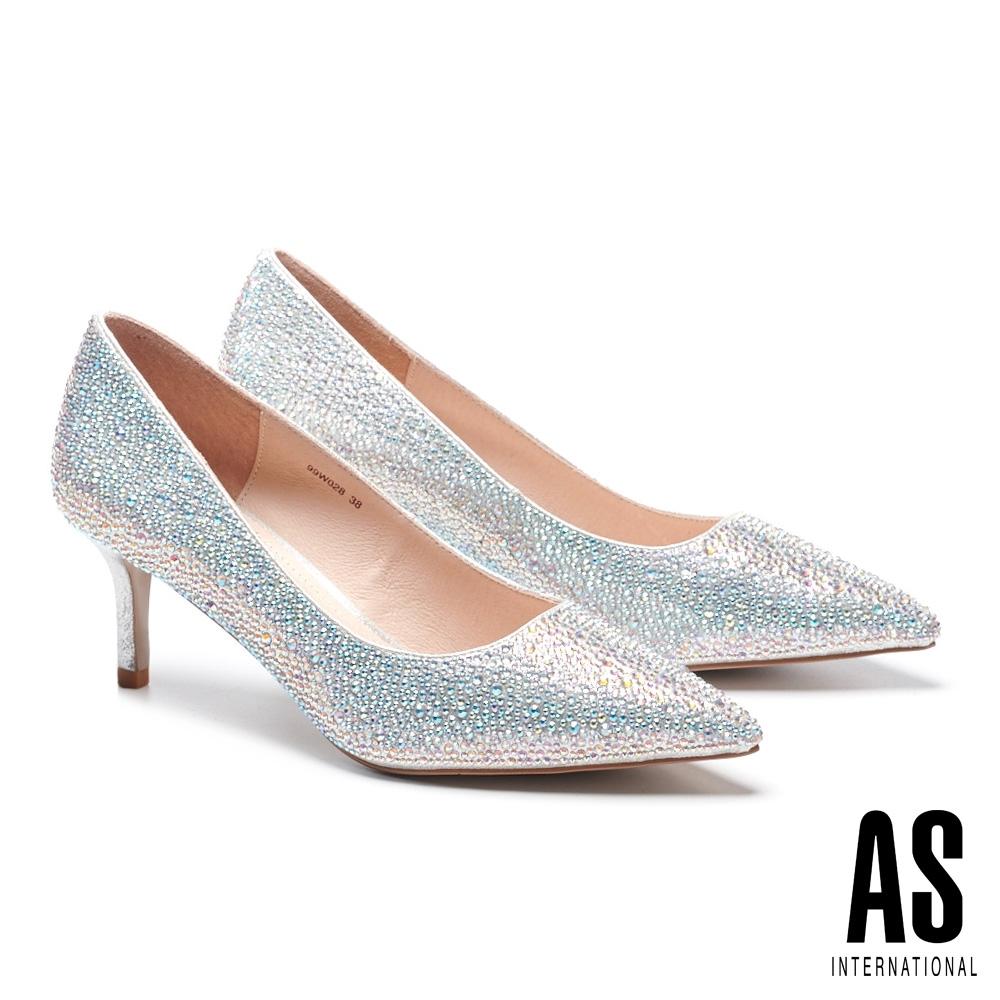 高跟鞋 AS 極致奢華閃耀晶鑽尖頭高跟鞋-銀
