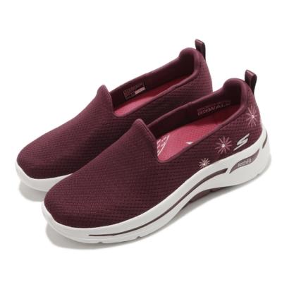 Skechers 休閒鞋 Go Walk Arch Fit 女鞋 專利鞋墊 回彈 避震 穩定 郊遊 紅 米 124402BURG