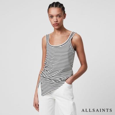 ALLSAINTS HATTI 極簡舒適側身排扣抓皺無袖條紋背心-白黑條