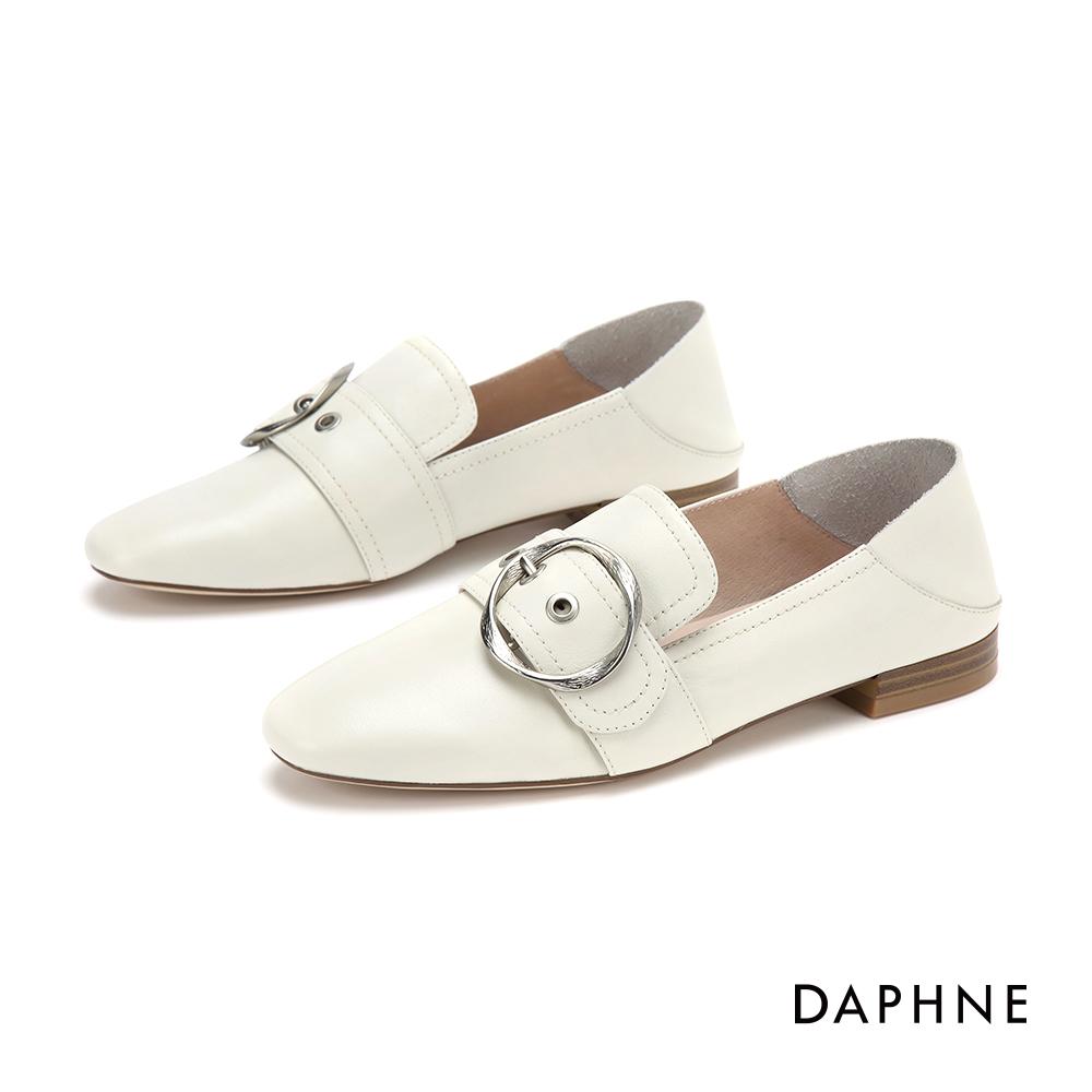 達芙妮DAPHNE 樂福鞋-真皮幾合皮扣樂福鞋-米白 @ Y!購物