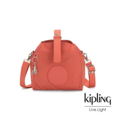 Kipling 亮麗珊瑚橘色素面手提側背包-IMMIN