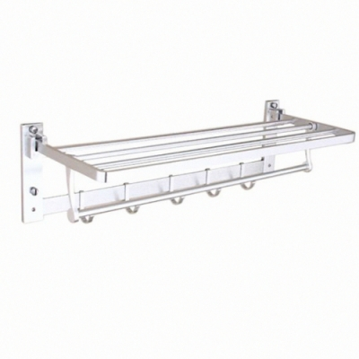 AA100 太空鋁毛巾架/折疊置物架 雙層浴巾架 浴室掛勾
