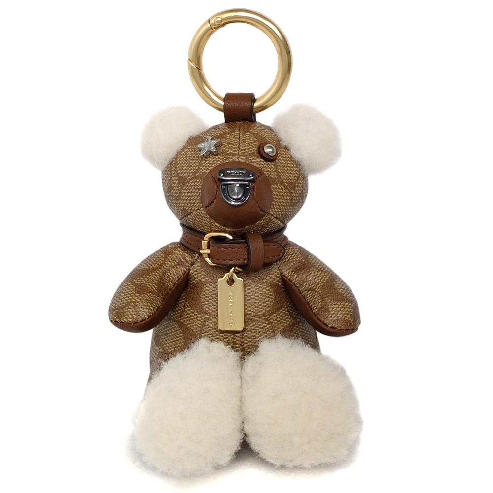 COACH卡其C Logo駝邊毛呢拼貼立體小熊單環鑰匙圈