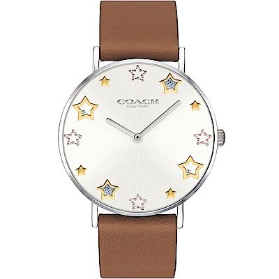 COACH 閃亮星星圖騰俏麗女錶(14503242)-銀x咖啡/36mm