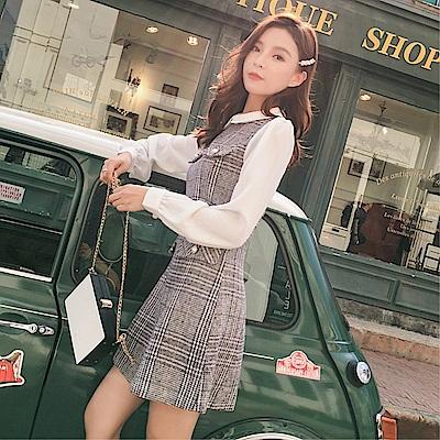 DABI 韓系毛呢格紋娃娃領襯衫拼接長袖洋裝
