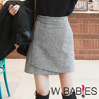 正韓 千鳥紋高腰交疊開衩短裙 (共二色)-W BABIES
