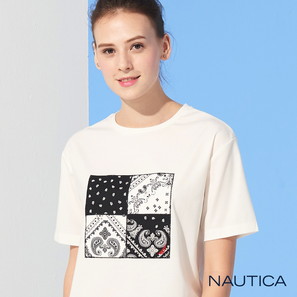 Nautica 女裝四方格民族風復古圖騰印花T恤-白