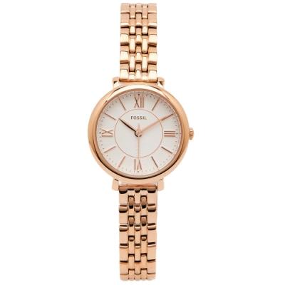 FOSSIL 簡約款羅馬佳人女性手錶(ES3799)-銀白面X玫瑰金/26mm