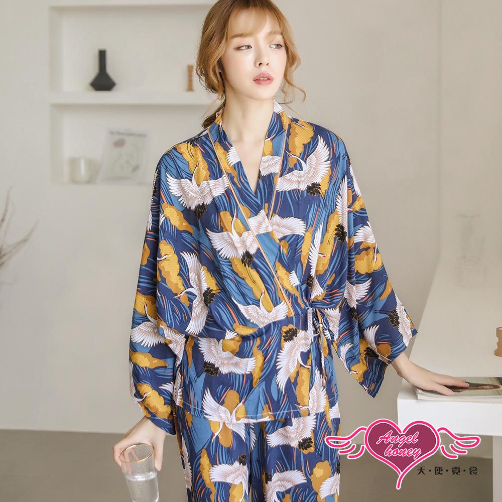 居家睡衣 仙鶴輕飛 日系綁帶二件式長袖成套休閒服(深藍F) AngelHoney天使霓裳