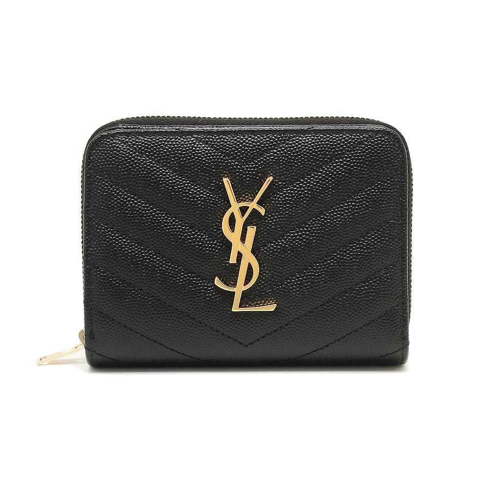 YSL Monogram 金色Logo 魚子醬牛皮V字縫線拉鍊暗扣短夾 黑色 @ Y!購物